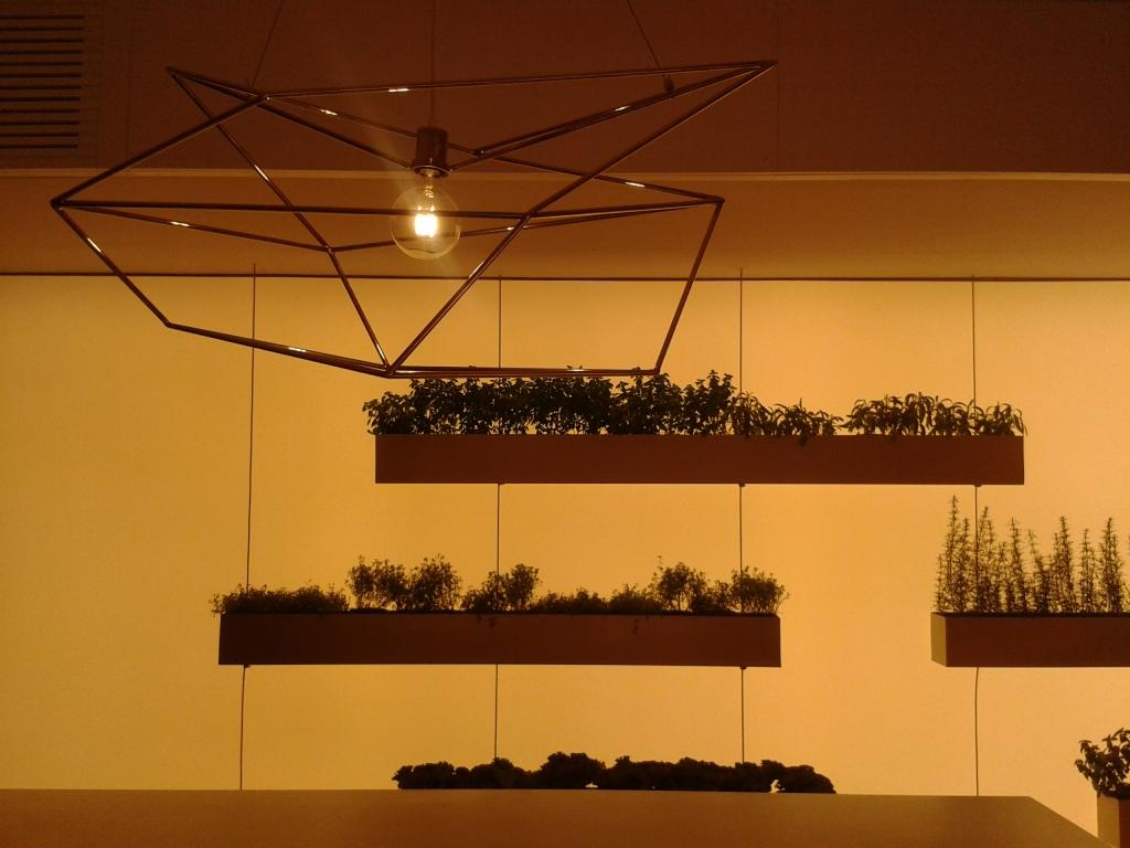 Horta suspensa na cozinha e lustre geométrico minimalista.