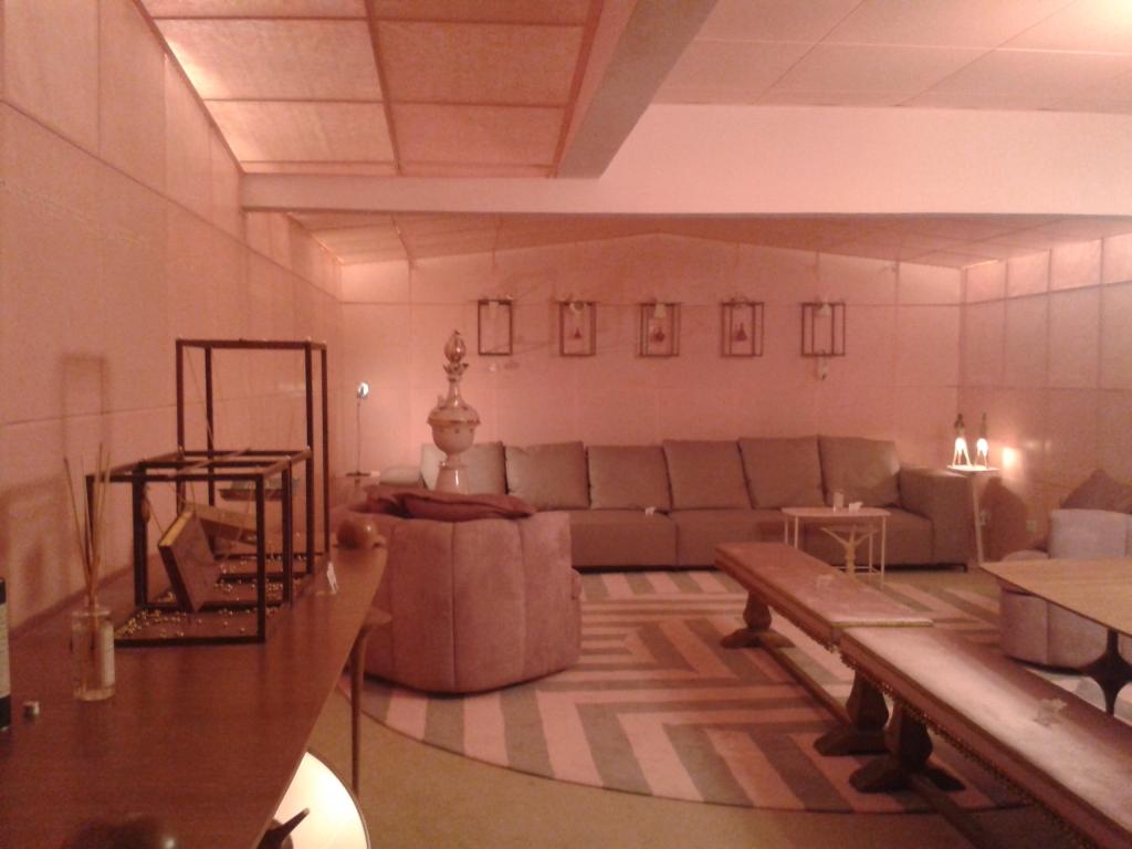 Sala monocromática rosa.