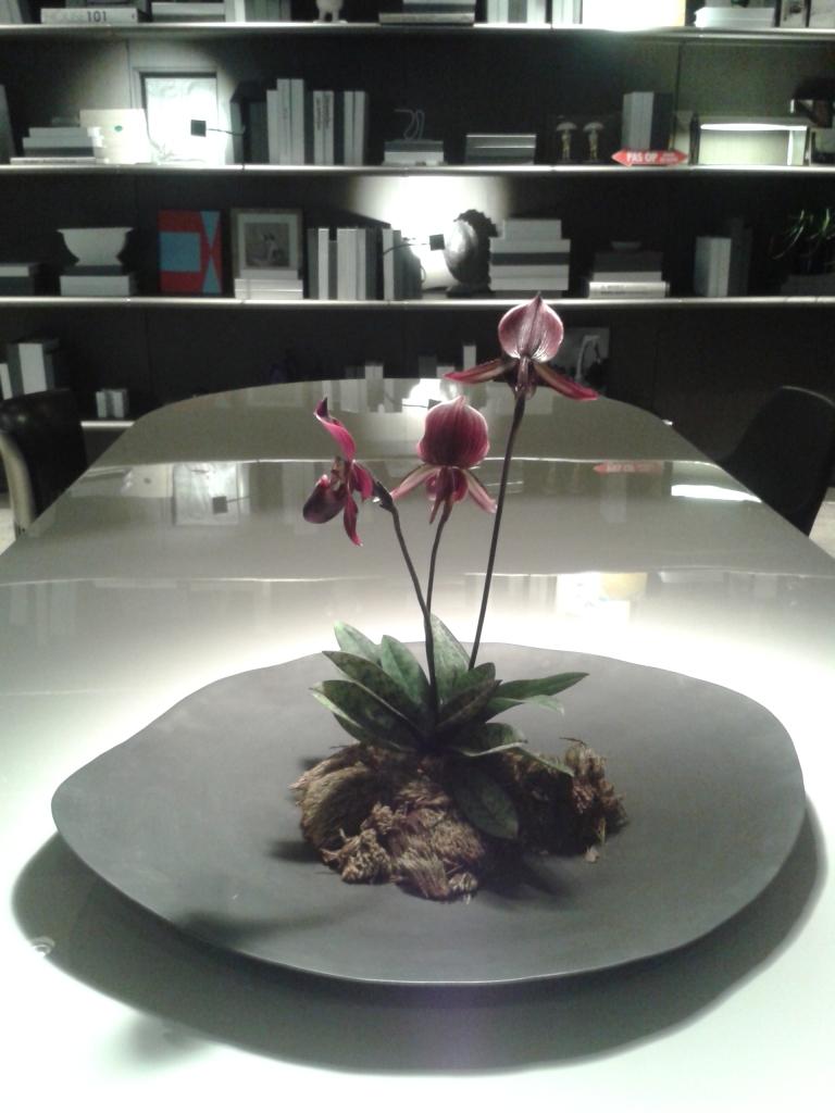 """Esse centro de mesa com orquídea não poderia ser diferente. Transmite a essência do conceito """"menos é mais""""."""