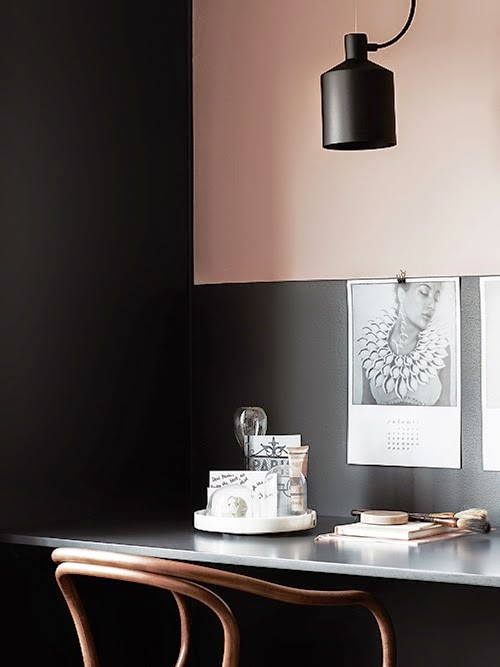 blush-pink-and-black-office-bentwood-armchair-built-in-desk