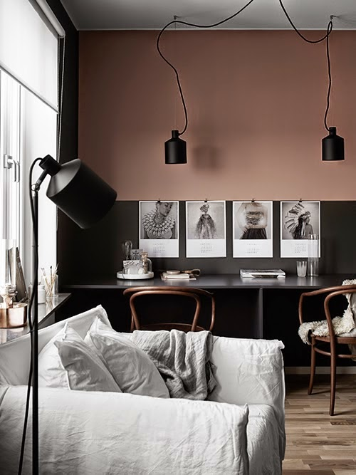 two-tone-accent-wall-divided-desk-pink-and-black-rooms